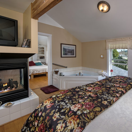 Elk View Room with bed, blazing fireplace, jacuzzi tub, looking into another bedroom