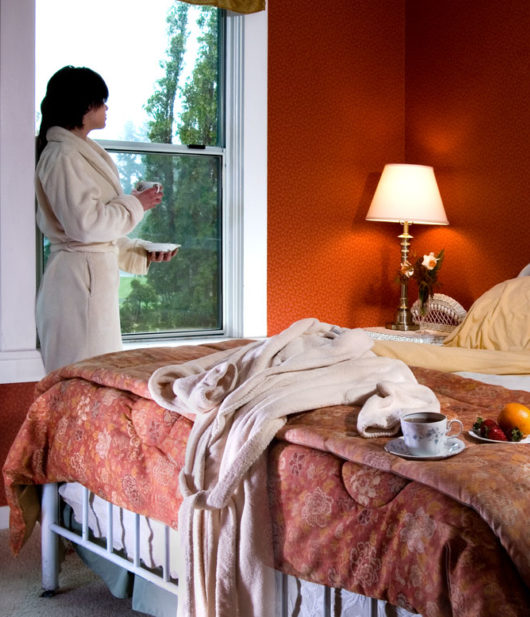 lady in rob with up of coffee looking out of window in bedroom